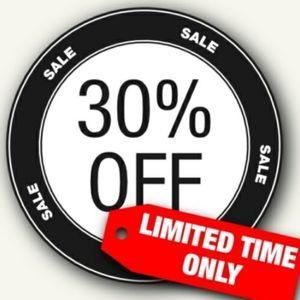 30% off any items ALL week Only!!!